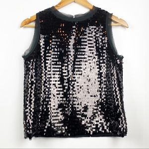 WHO WHAT WEAR | Black Sleeveless Sequin Crop | XS
